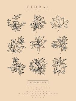 Коллекция минималистских цветочных иллюстраций в стиле line art, может использоваться для печати, домашнего декора, настенного плаката, приглашения и другого