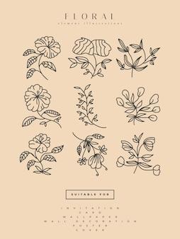 Коллекция минималистских цветочных иллюстраций в стиле line art, может использоваться для печати, домашнего декора, настенного плаката, приглашения и другого Premium векторы