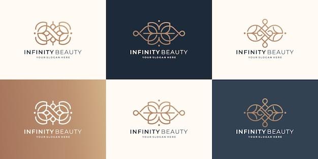 Коллекция минималистичного логотипа красоты бесконечности. роскошный стиль красоты линии искусства, женственный логотип салона.