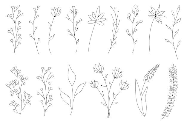 ミニマルでシンプルな花の要素のコレクション。グラフィックスケッチ。ファッショナブルなタトゥーのデザイン。花、草、葉。植物の自然の要素。ベクトルイラスト。アウトライン、ライン、落書きスタイル。