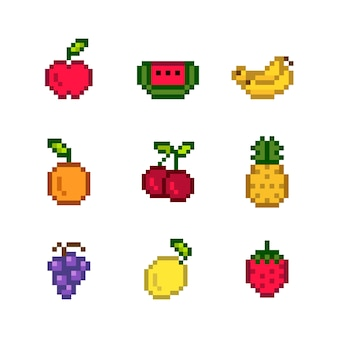 Collection of mixed pixelated fruits