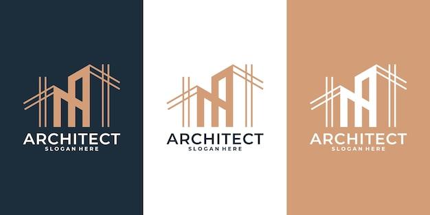 線形スタイルの近代建築ロゴのコレクション