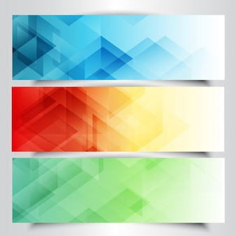 Collection of modern banners with in low poly design