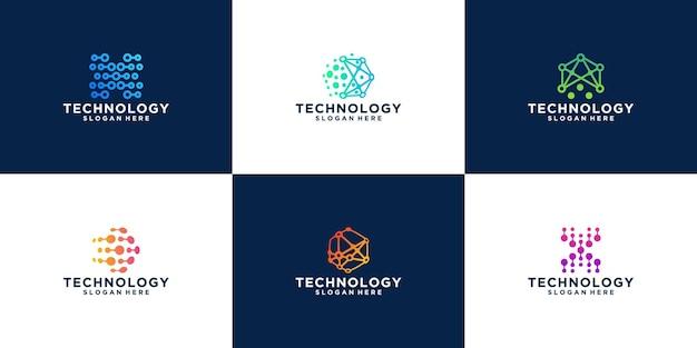 Коллекция шаблонов логотипов современной технологии блокчейн