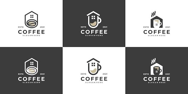 カフェコーヒービジネスアイデアのためのモダンなコーヒーハウスのロゴのコンセプトのコレクション