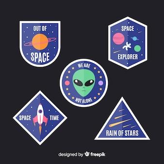 Коллекция современных красочных космических стикеров