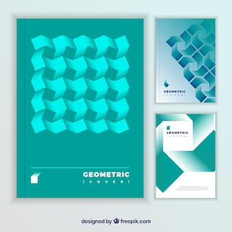 Collection of modern covers with geometric shapes