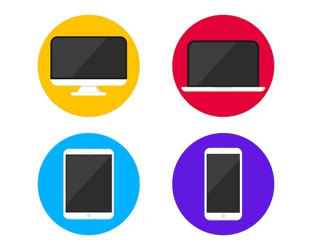 현대 디지털 장치 모형 템플릿 컬렉션입니다. 벡터 아이콘 스마트폰, 태블릿, 노트북 및 컴퓨터의 집합입니다. 웹 및 모바일용 전자 장치 및 가제트 아이콘. 반응형 플랫 웹 장치
