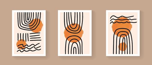 現代の幾何学的なカバーのコレクション。世紀半ばの手描きの構図ベクトルデザイン。ポスター、パンフレット、バナーの最小限の装飾デザイン。