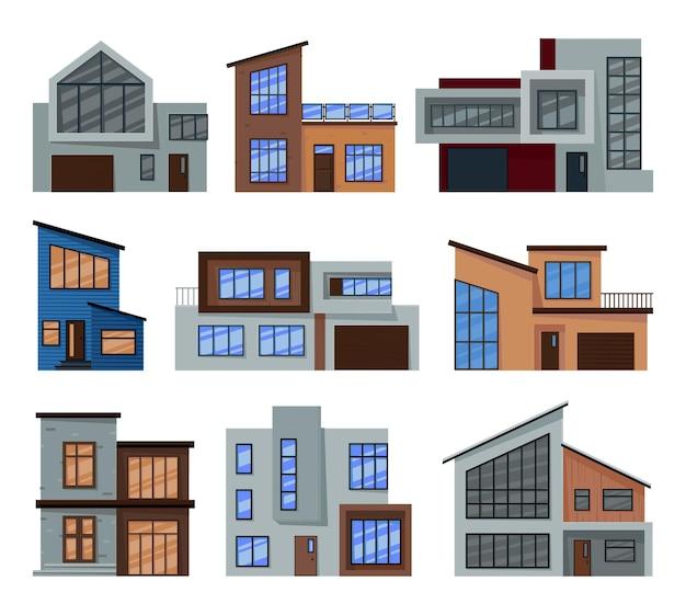 유리, 콘크리트 및 목재로 만든 현대 주택 컬렉션