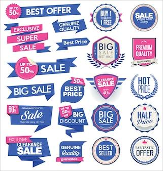 Коллекция современных наклеек и тегов продаж