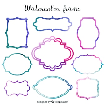Collection of modern watercolor frames