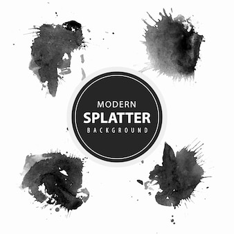 Collection of modern watercolor splatter background