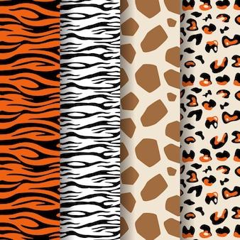 現代の野生動物の毛皮パターンのコレクション