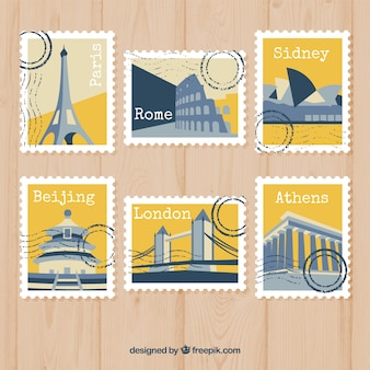 Collection of modern yellow travel stamps
