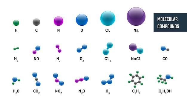 Коллекция комбинаций молекулярно-химических моделей из водорода, кислорода, натрия, углерода, азота и
