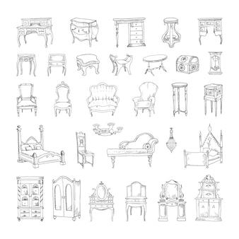 스케치 스타일의 골동품 가구의 흑백 삽화 모음