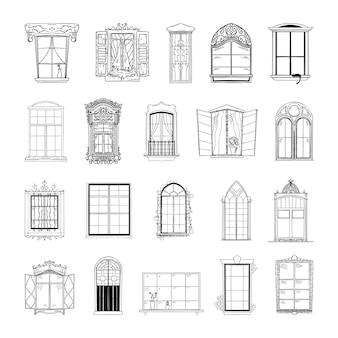 Коллекция монохромных иллюстраций окон в стиле эскиза