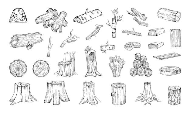 Коллекция монохромных иллюстраций древесного сырья в стиле эскиза