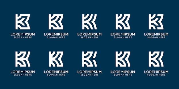 Коллекция дизайна логотипа вензеля k. письмо k стиль линии дизайна. премиум векторы