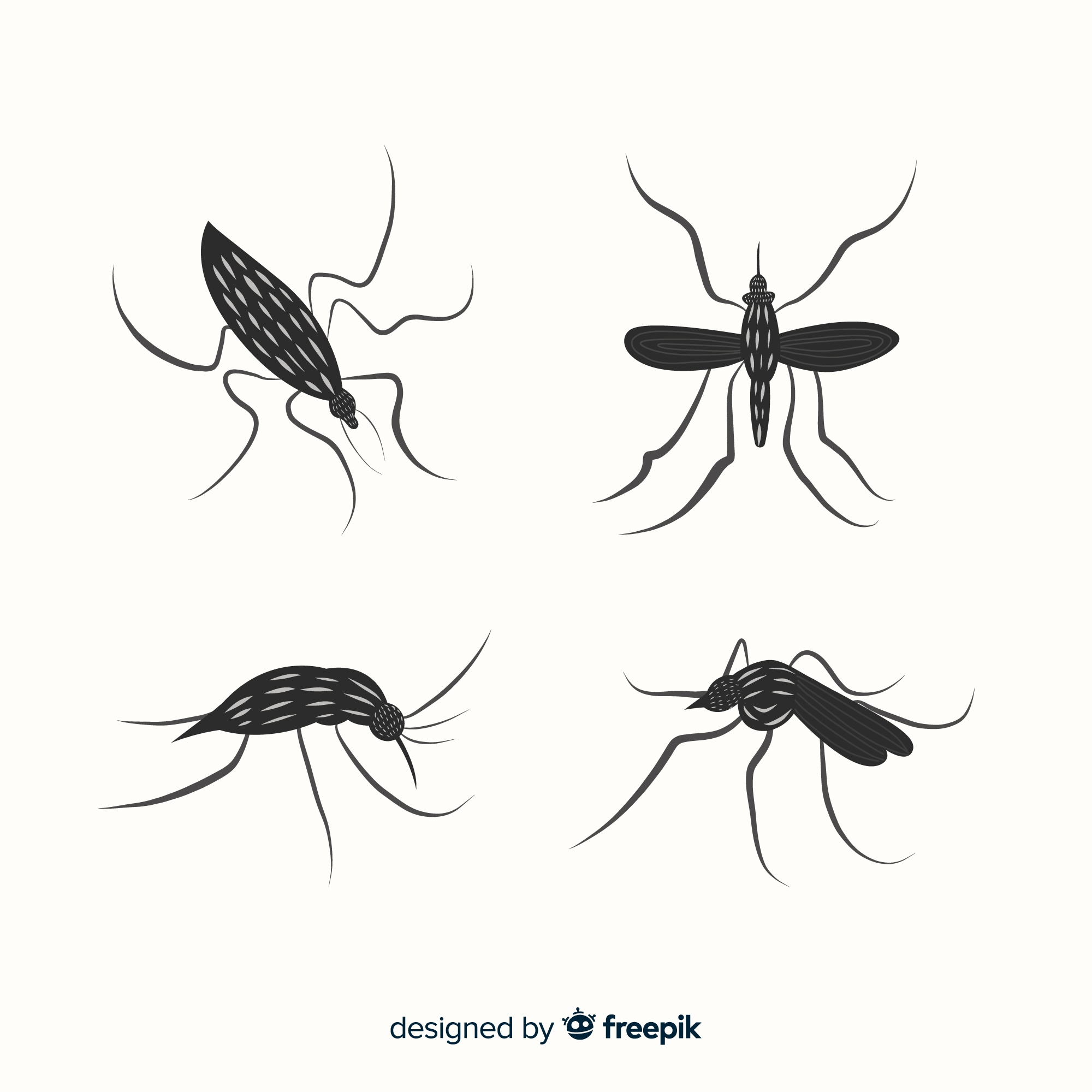 Collection of mosquito silhouettes in flat style