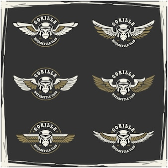 オートバイクラブとガレージのロゴのコレクション