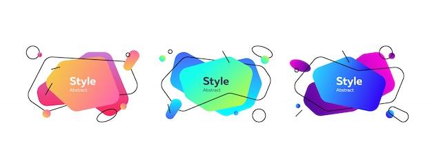 Коллекция разноцветных струящихся жидких фигур