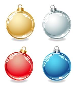白い背景の色とりどりのクリスマスボールのコレクション