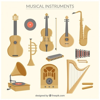Collection of music instruments