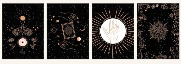 Коллекция мистического и загадочного в рисованном стиле. черепа, животные, космические объекты, магический шар, кристаллы, руки