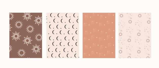 自由奔放に生きるスタイルの神秘的なパターン、手と月、太陽と星のコレクション