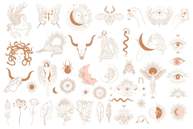 Коллекция предметов мифологии, фантастические животные, мифические существа, эзотерические и богемные предметы, женщина