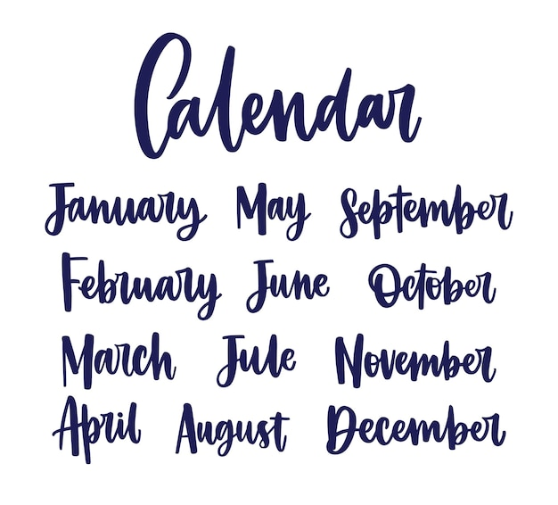 Коллекция названий месяцев, написанных от руки с элегантной каллиграфией