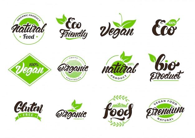 天然またはエコラベル、ロゴのコレクション Premiumベクター