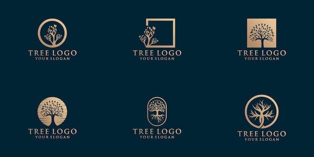 Коллекция логотипов натурального дерева