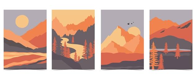 산, 바다, 태양, 달 설정 자연 풍경 배경의 컬렉션입니다. 웹사이트, 초대장, 엽서 및 포스터에 대 한 편집 가능한 벡터 일러스트 레이 션