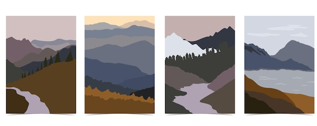 Mountainlakesky로 설정된 자연 풍경 배경 모음
