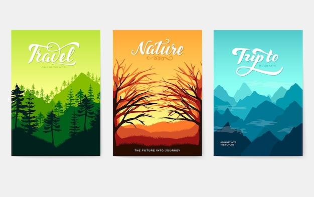 Коллекция плакатов природы, изолированных на сером