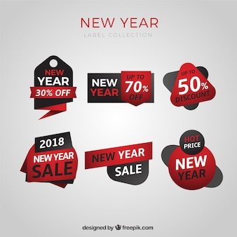 Collection of new year sale tags