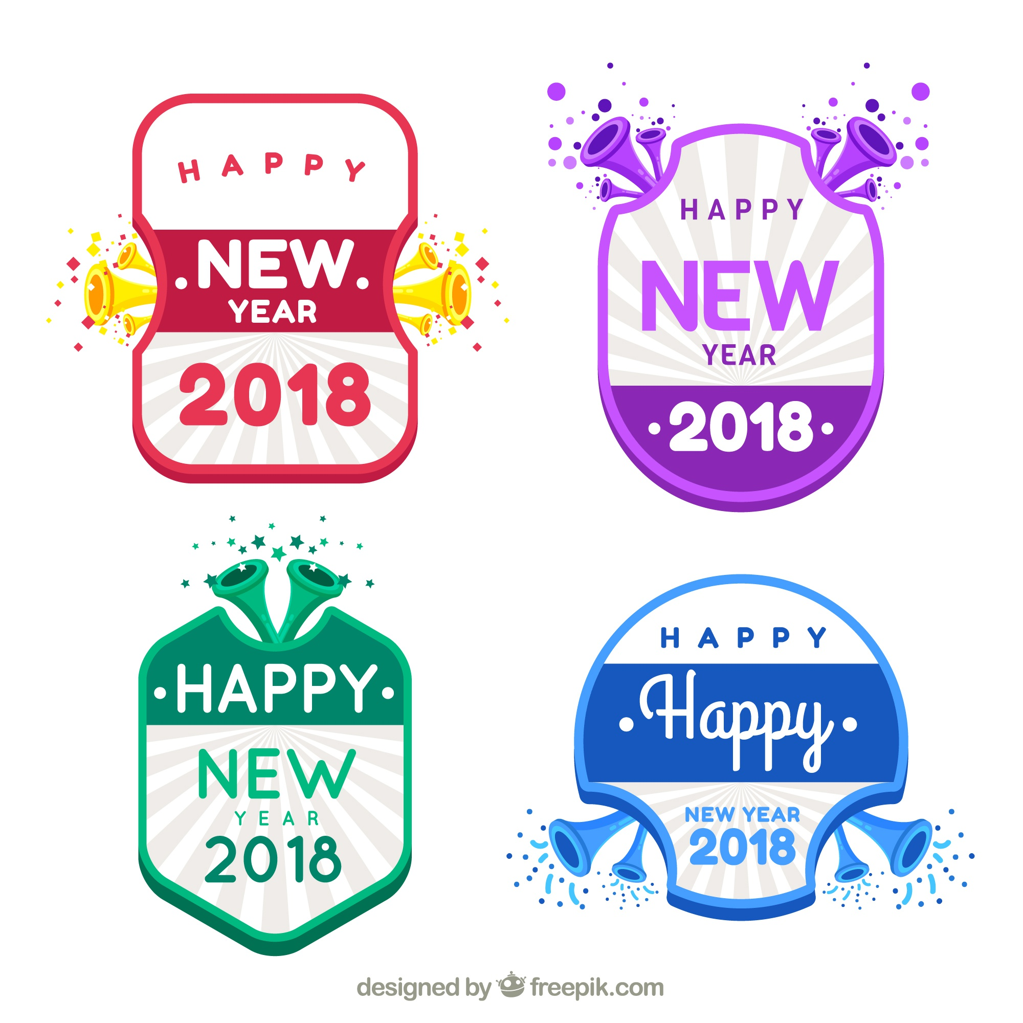 Collection of new year stickers in bright colours