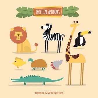 フラットデザインでの素敵なアフリカの動物のコレクション