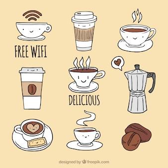 좋은 커피 숍 요소의 컬렉션
