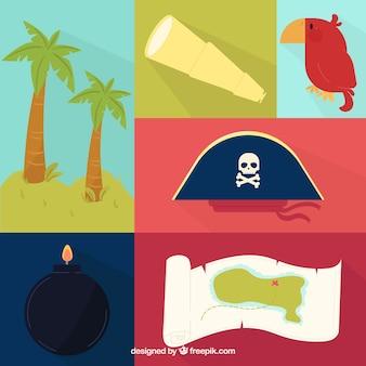 フラットデザインの海賊の素敵な要素のコレクション