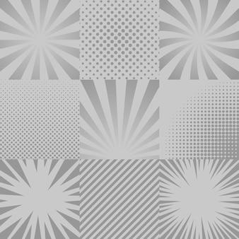 9つのモノクロコミックポップアートの背景のコレクション