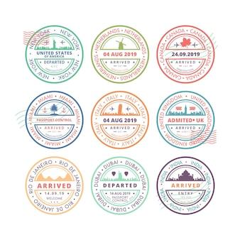 記念碑を持つ9つの丸い切手のコレクション
