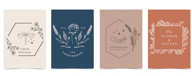 잠자리, 꽃으로 설정하는 신비로운 배경의 컬렉션입니다.