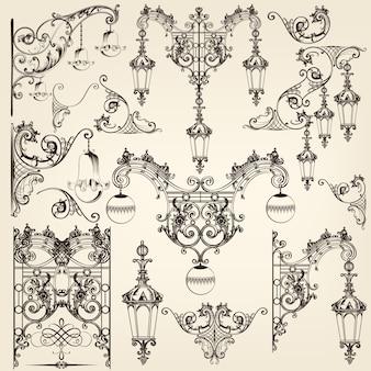 Коллекция старых декоративных фонарных столбах