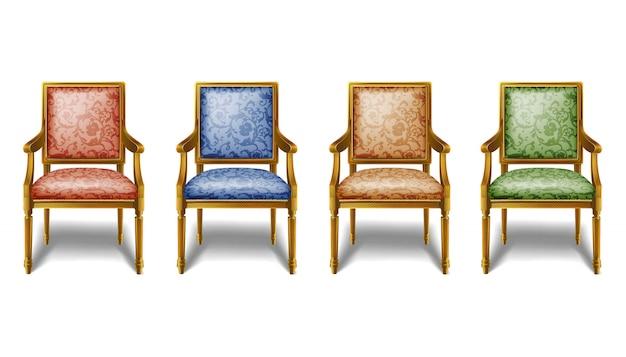 빨강, 파랑, 갈색 및 녹색 색상의 오래 된 빈티지 바로크 의자의 컬렉션입니다. 흰색 배경에 고립 된 아이콘 그림입니다.
