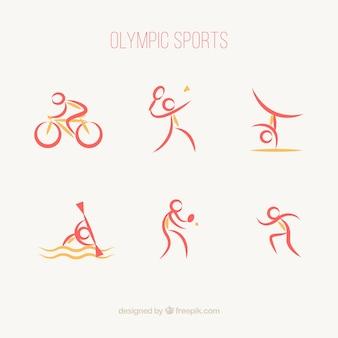 추상 스타일에서 올림픽 스포츠의 컬렉션
