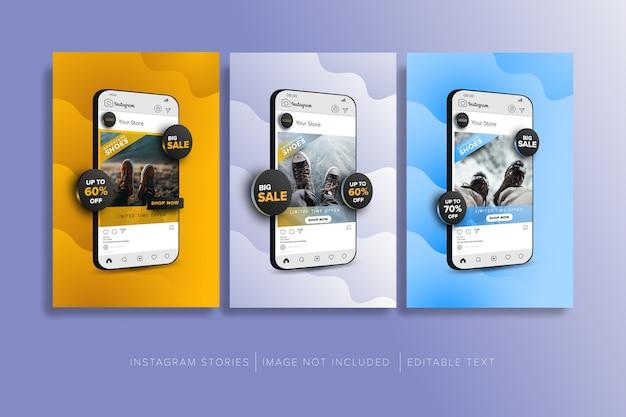 소셜 미디어 게시물에 온라인 상점 판매 개념의 컬렉션